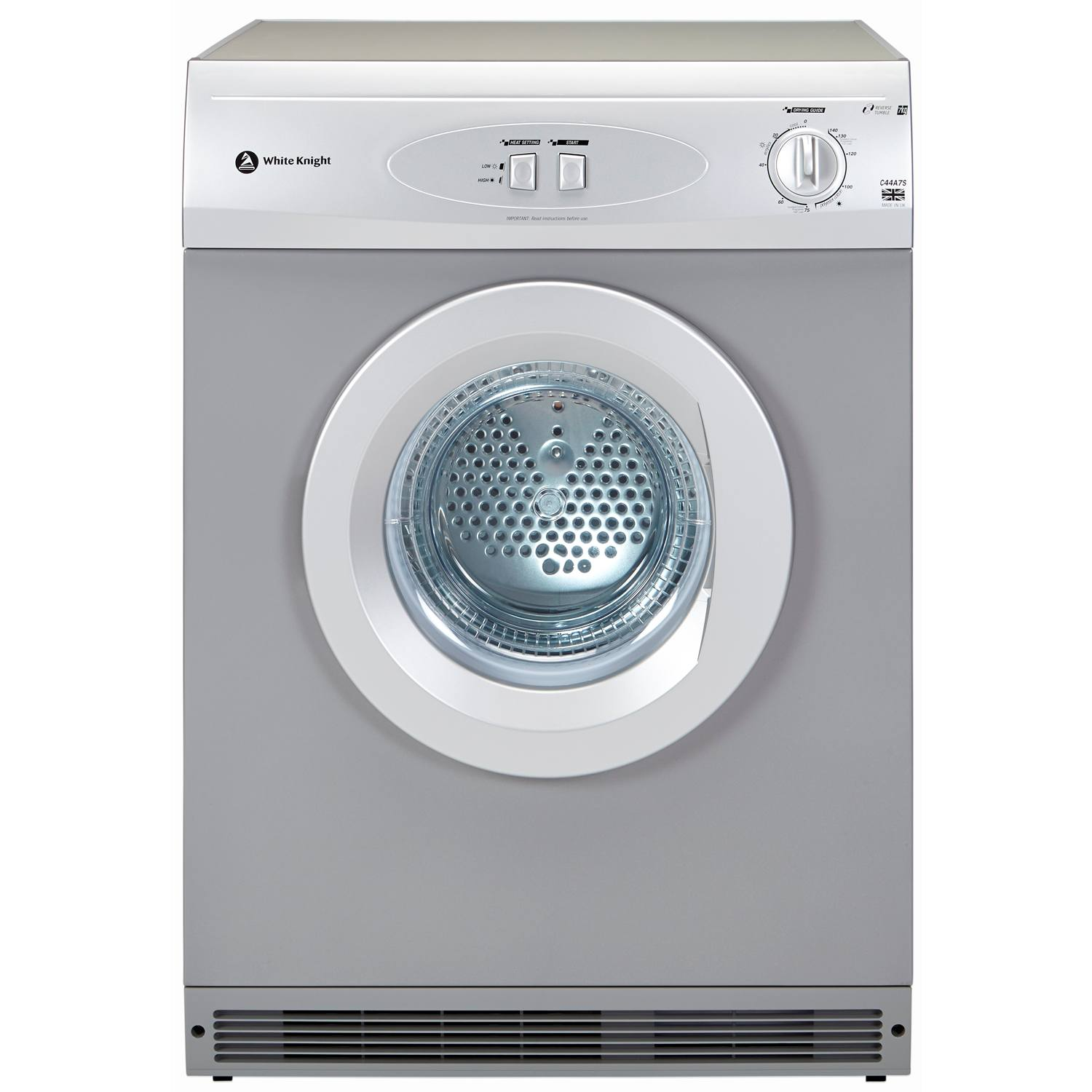 White Knight C44A7S 7kg with Reverse Action Vented Tumble Dryer in Silver  £174.00