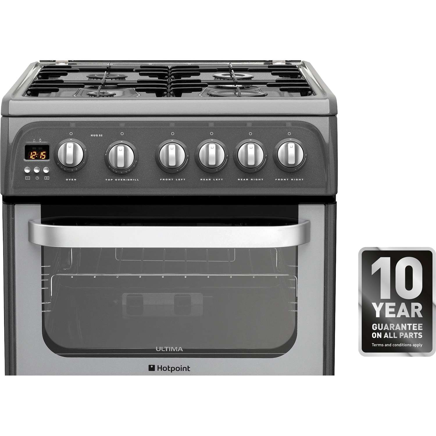 hotpoint hug52g freestanding double oven 4 burner gas. Black Bedroom Furniture Sets. Home Design Ideas