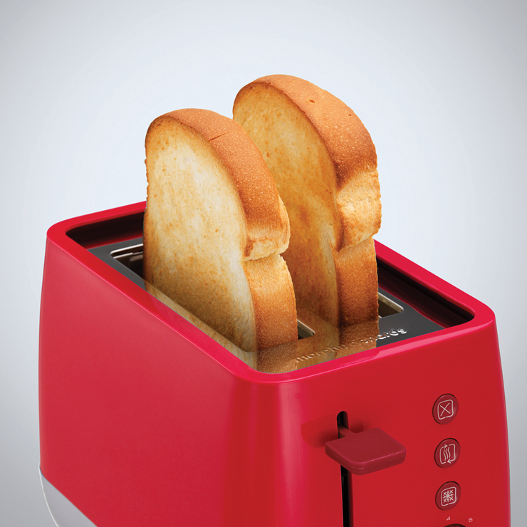 Morphy Richards Usa: MORPHY RICHARDS 221112 Chroma 2 Slice With Reheat Function Toaster In Red - £19.99