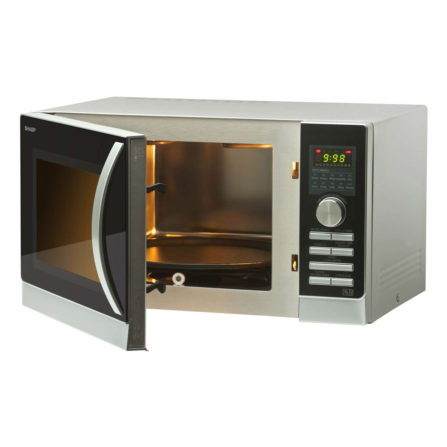 Sharp R843slm 25 Litre 900w Double Grill Combination Microwave Oven In Silver 149 00