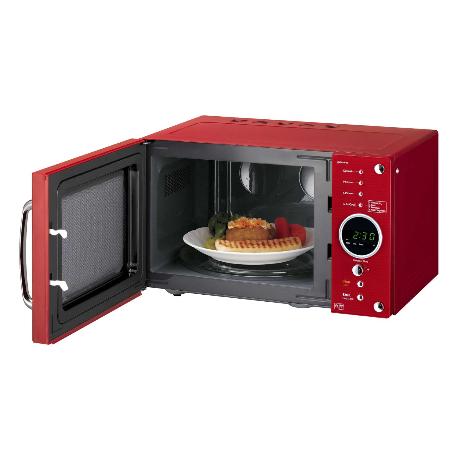Daewoo Kor8a9rr 23l 800w Touch Control 5 Programmes Retro Microwave Oven In Red 62 99