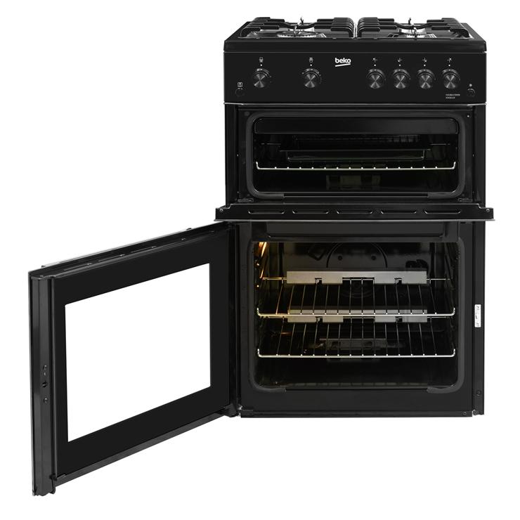Beko-KDG611K-60cm-Double-Oven-4-Burners-with-LPG-Option-Gas-Cooker-in-Black