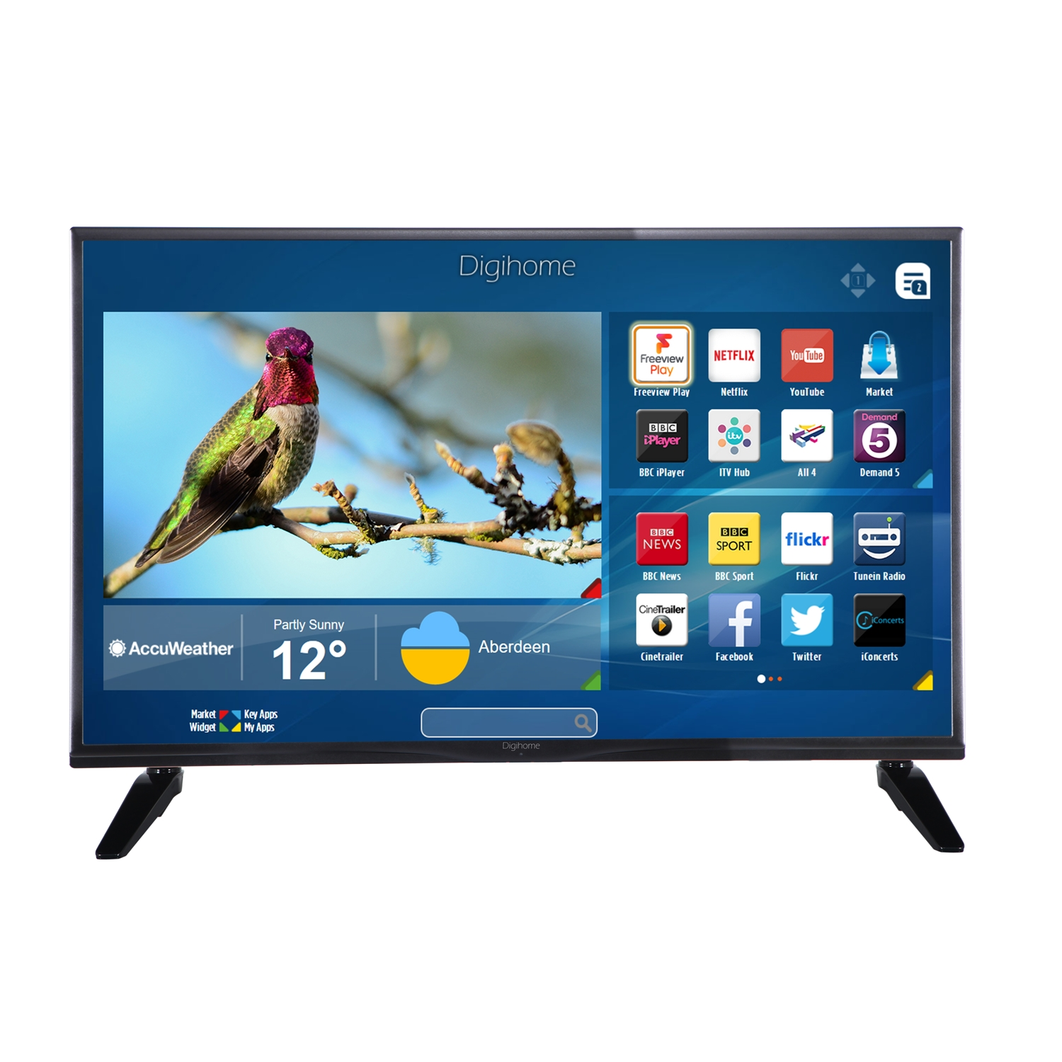Digihome 40FHDSFVP 40 Inch Full HD Freeview WiFi Smart LED TV Black ...